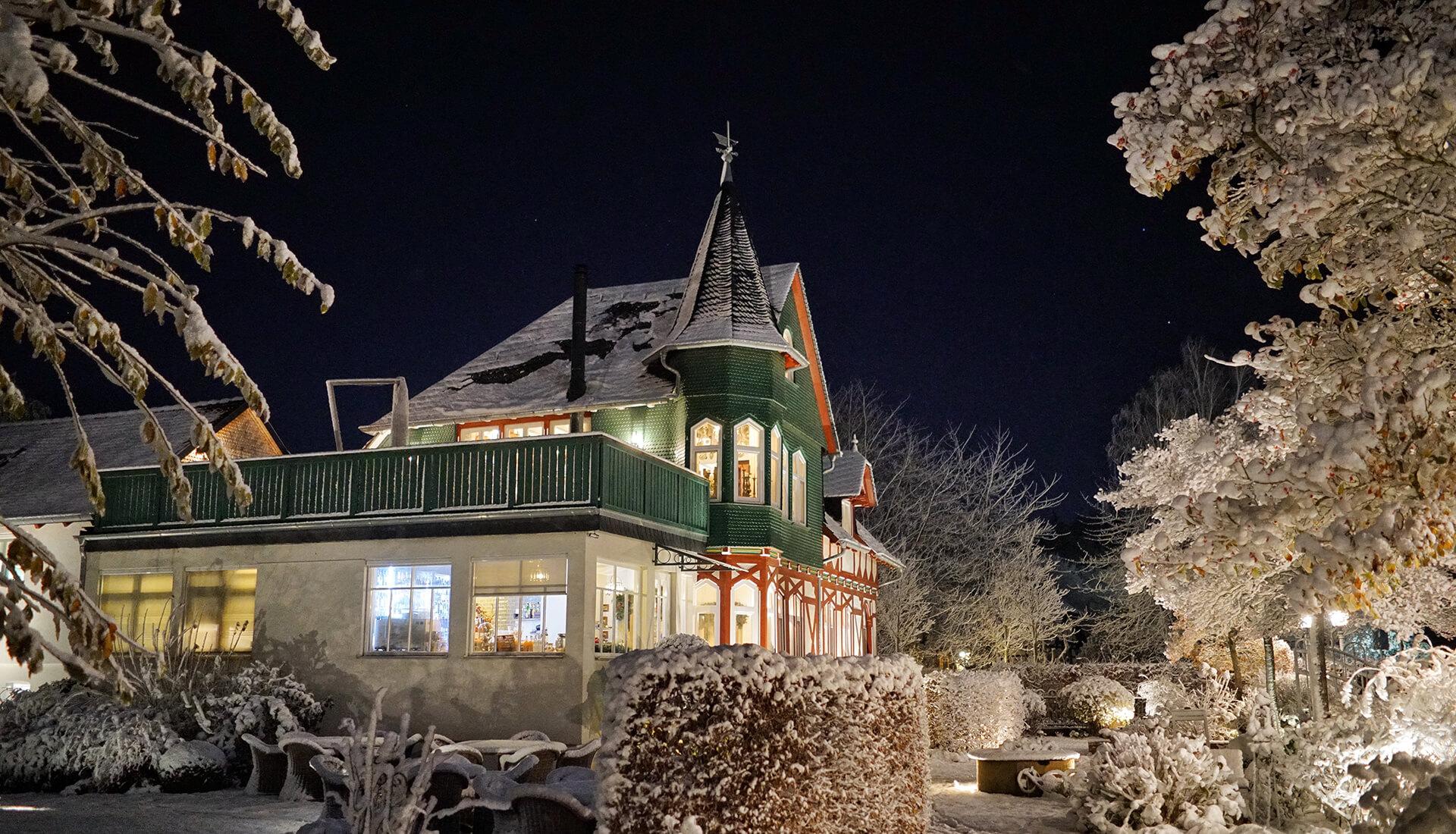 Das Restaurant Waldschlösschen in Dagobertshausen im Winter