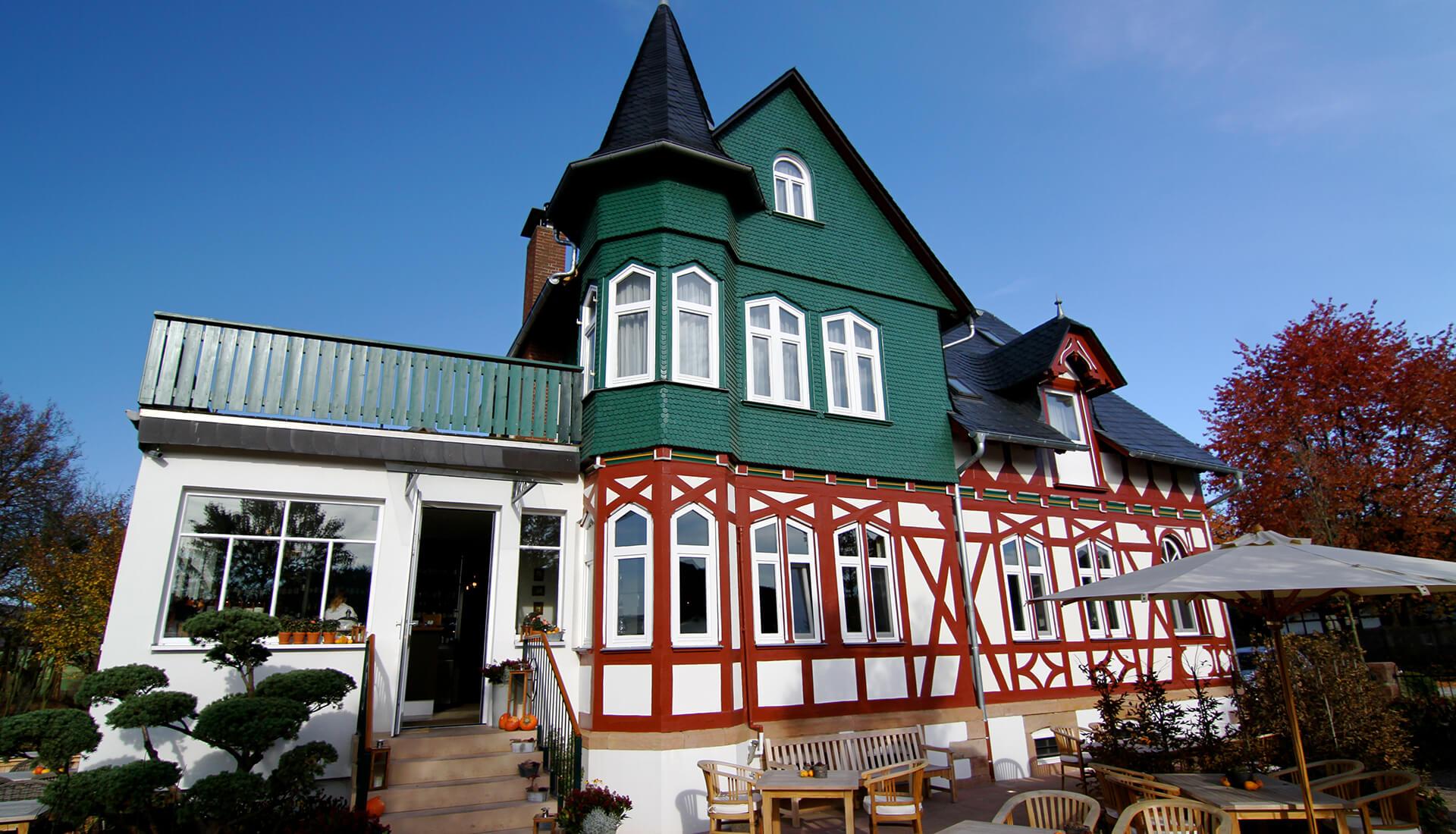 Außenaufnahme vom Restaurant Waldschlösschen in Dagobertshausen
