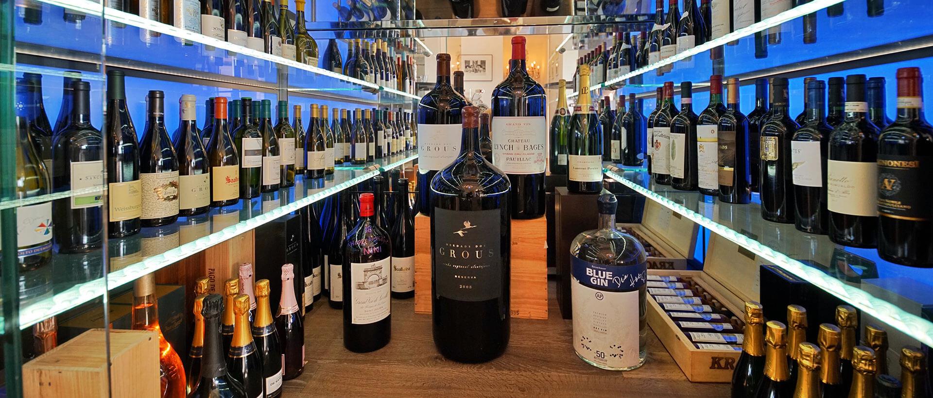 Weinauswahl im Restaurant Waldschlösschen